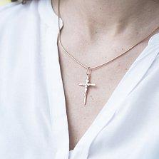 Крестик Воскрешение в красном золоте с родированием
