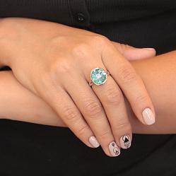 Серебряное кольцо Нереида с синтезированным морским кварцем