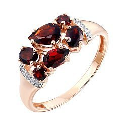Кольцо из красного золота с гранатами, цирконием и родированными элементами 000141242