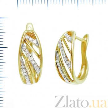 Серьги из желтого золота Эдита с бриллиантами 000081132