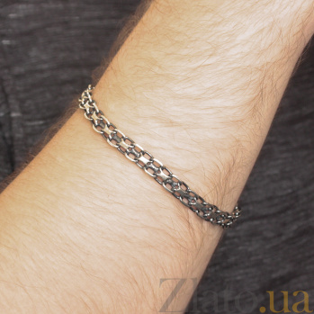 Серебряный чернёный браслет Ортад в плетении двойной якорь, 7мм 000079827