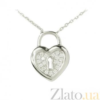 Серебряное колье Сердце под замком 3Л543-0002