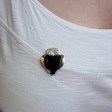 Серебряная брошка Совушка с золотой накладкой, авантюрином и фианитами