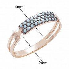 Золотое кольцо Дарья с имитацией бирюзы