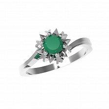 Серебряное кольцо Наоми с зеленым агатом