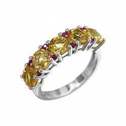 Серебряное кольцо Ярина с цитрином и красными фианитами