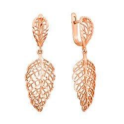 Серьги из красного золота Осенние ажурные листья с алмазной насечкой