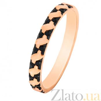 Золотое кольцо Арианта с черными фианитами 000023298