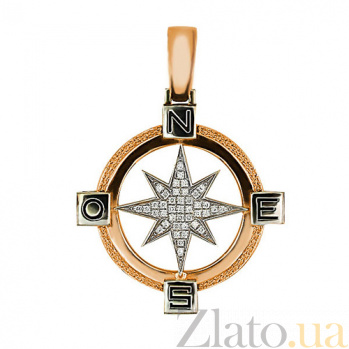 Подвеска Путеводная Звезда из красного золота с цирконием VLT--Т3313-2