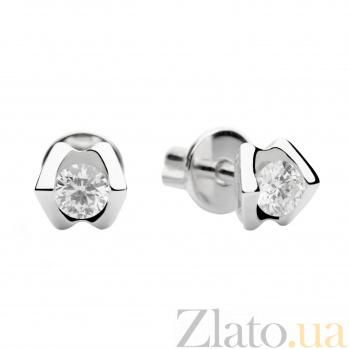 Золотые серьги-пуссеты с бриллиантами Фаина 000030542