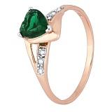 Позолоченное серебряное кольцо с зеленым цирконием Страстная любовь