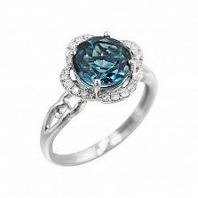Кольцо из белого золота Джоан с голубым топазом и бриллиантами