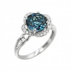 Кольцо из белого золота с голубым топазом и бриллиантами 000080897