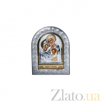 Серебряная икона Святое Семейство с позолотой AQA--EPZ3-015AG-BR