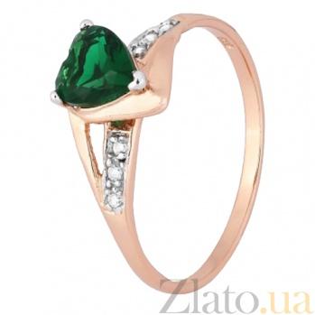 Позолоченное серебряное кольцо с зеленым цирконием Страстная любовь 000028217