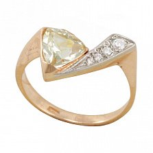 Золотое кольцо Аспид в комбинированном цвете с завальцованным цитрином и фианитами