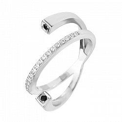 Серебряное кольцо с черными и белыми фианитами 000072201