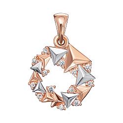 Золотая подвеска в комбинированном цвете с кристаллами Swarovski 000133906