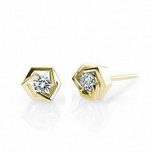 Золотые серьги-пуссеты Princess Earrings в желтом цвете с бриллиантами 2,9мм