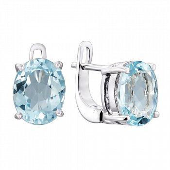 Серебряные серьги с голубыми топазами 000136770