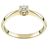 Помолвочное кольцо из желтого золота Королевский цветок с бриллиантом 2,5мм