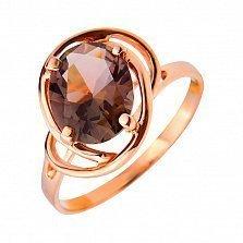 Кольцо из красного золота Эвридика с дымчатым кварцем (раухтопазом)