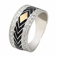 Серебряное кольцо с фианитами и золотой вставкой Ирен