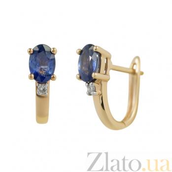 Золотые серьги с сапфиром и бриллиантом Лора 000026721