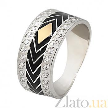 Серебряное кольцо с фианитами и золотой вставкой Ирен BGS--695к