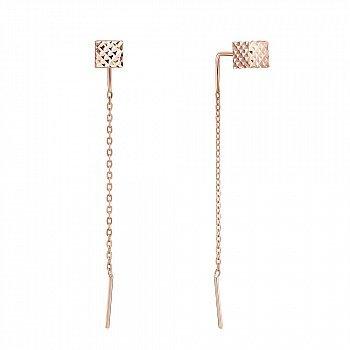 Золотые серьги-протяжки Кубик в красном цвете с алмазной гранью и цепочкой 000124373