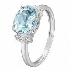 Серебряное кольцо Эльвира с голубым топазом и фианитами