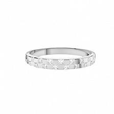 Золотое кольцо Шашки в белом цвете с бриллиантами