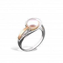 Серебряное кольцо Вайолет с золотой вставкой и жемчугом