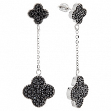 Серебряные серьги-подвески Клэр с фианитами