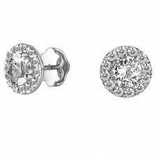 Серьги-пуссеты из белого золота Дамиа с бриллиантами