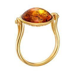 Серебряное кольцо с янтарем и позолотой 000137652