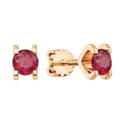 Серьги-пуссеты из красного золота с рубинами 000135634