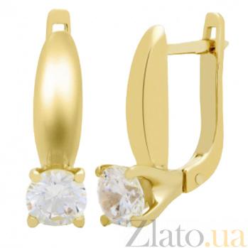 Серьги из желтого золота с фианитом Карлая 000022774