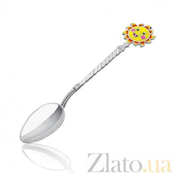 Серебряная чайная ложка Солнышко 2.91.0080