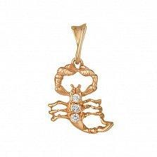 Золотой кулон Скорпиончик с тремя белыми фианитами на спине
