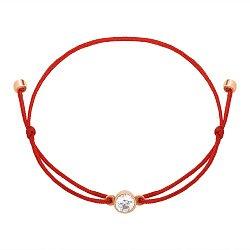 Браслет из красной нити и золота с цирконием Swarovski 000145510