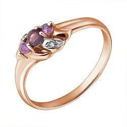 Кольцо из красного золота с рубинами и бриллиантами Густа