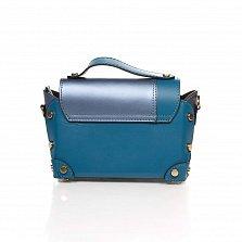 Кожаный клатч Genuine Leather 1620 синего цвета с декоративными заклепками и механическим замком