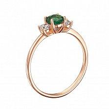 Кольцо в красном золоте Романтика с хризолитом и фианитами
