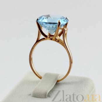 Золотое кольцо с голубым топазом Диодора 000018562