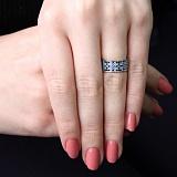 Серебряное кольцо Водный Орнамент с фианитами