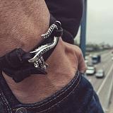 Кожаный браслет с серебром Tentacles Onyx