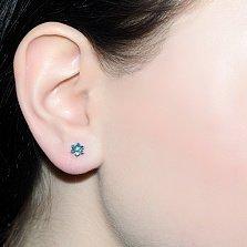 Золотые серьги с голубыми бриллиантами Мирра