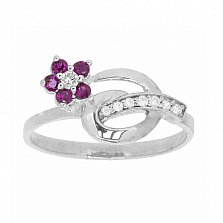 Серебряное кольцо с бриллиантами и рубинами Сильва