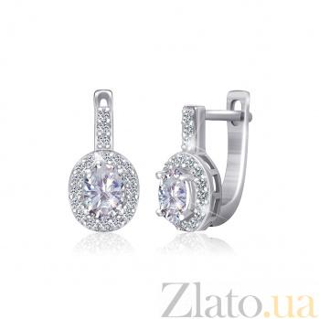 Серебряные сережки Арлетта с фианитами 000024666